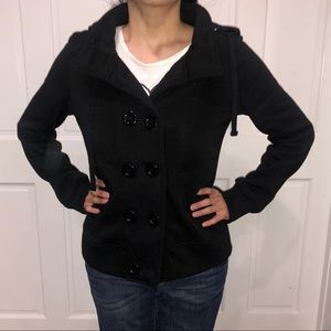 🖤 Large Ambiance Hooded Jacket Buttoned Black